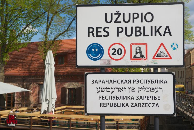 Vilnius bohemian district entrance sign